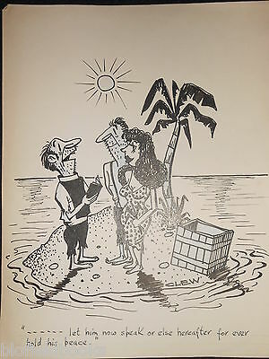 "CLIFFORD C LEWIS ""CLEW"" Original Pen & Ink Cartoon - Wedding Castaways #379"