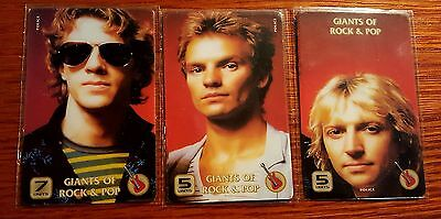 Police Sting Giants Of Rock & Pop Set Of 3 Telephone Cards