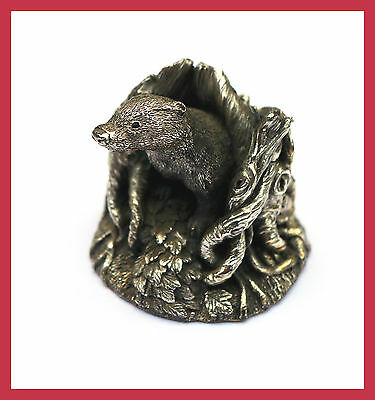 Sterling Silver Country Artists BADGER Statue Ornament CA filled C1990 Vintage