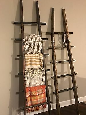 8' tall Primitive Folding Rustic Antique Wood 5 Rung Ladder