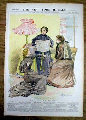 1897 newspaper w COLOR poster - 3 WOMEN SINGING HYMNS at EASTER -by Archie Gunn