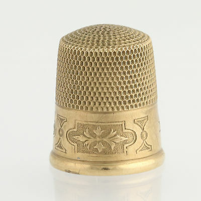 Thimble - 10k Yellow Gold Floral Motif Sewing Tool Collectible Gift