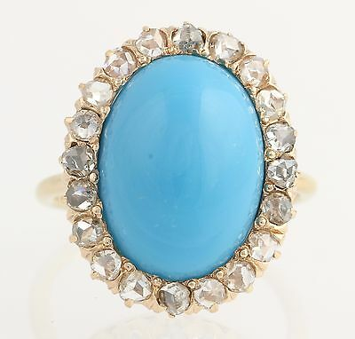 Vintage Simulated Turquoise & Diamond Cocktail Ring - 14k Yellow Gold 1.20ctw