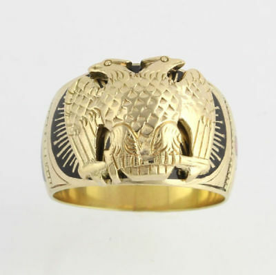 Scottish Rite Ring 32nd Degree Vintage - 14k Solid Gold Band Size 9.25 - 9.5