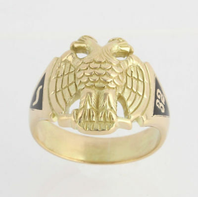 Scottish Rite Vintage Ring Band - 14k Solid Yellow Gold Size 10.25 Masonic Mason