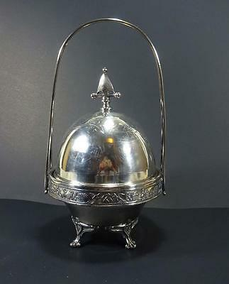 Antique Aesthetic Silverplate Domed Butter Dish  Wm. Holmes Baltimore. Md c1860