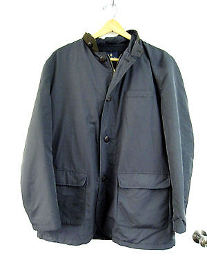 Brooks Brothers Men's Coat Jacket Zip Up Navy Blue Brown Accents Size Large L