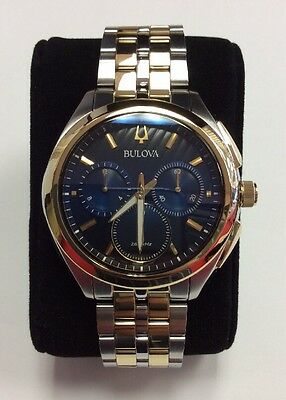BULOVA Men's CURV Two-Tone Stainless Steel Navy Dial Chronograph WATCH 98A159