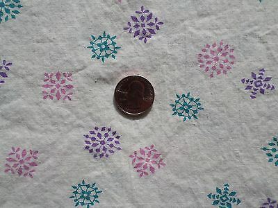 Vintage Pink Purple Aqua Snowflakes Print on White Cotton Fabric