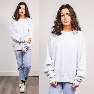 90's Lee Vintage Plain Sweatshirt Jumper Sweater Light Grey Crew Neck Usa 20