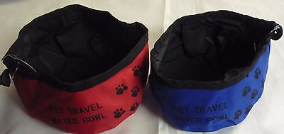 Fold up Travel Dog Canvas Bowl For food & Water Red or Blue. Great for Travel