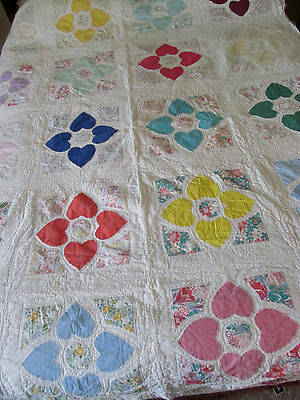 Old Vintage HEARTS Applique Quilt~Cotton Prints Feedsack~Hand Quilted 64x80