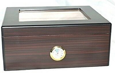 Venice 60G ~High Lacquer Espresso/Coffee Pattern Finish Glass Lid~ Cigar Humidor