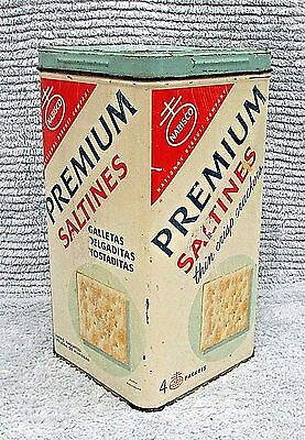 Old 1950's Nabisco Premium Saltines Thin Crisp Cracker Vintage Tin Box FREE S/H