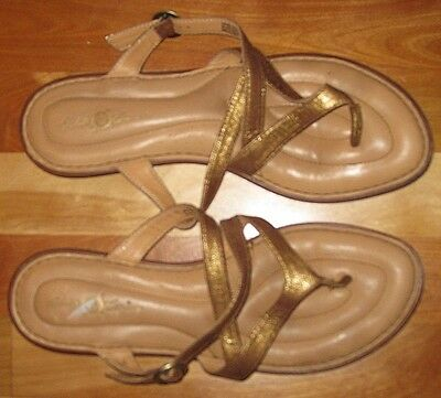 Born Crown Gold Leather Thong Slide Sandals Shoes Women's Size 10 42