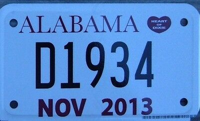 ALABAMA 2013  Motorcycle DEALER Cycle License plate   D 1934   ^