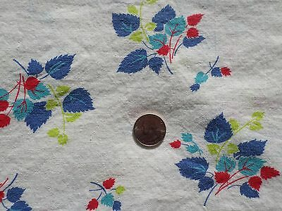 Vintage Foliage Leaves Print on White Cotton Fabric