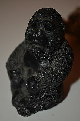 STONE CRITTERS USA Littles Baby Black Ape Gorilla Monkey VTG 80s ANIMAL FIGURINE