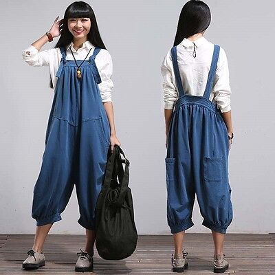Vintage Women's Casual Fashion Loose Overalls Suspender Pants Trousers Jeans New