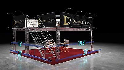20 x 20 Aluminum Double Deck Trade Show Booth Exhibit Display - Basic Rental