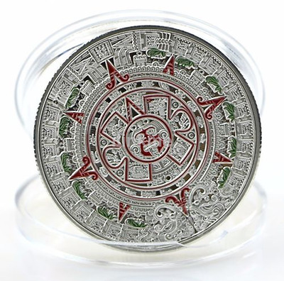 1pc Silver Plated Mayan Prophecy Calendar Coin Commemorative Collection Coin US