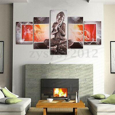 5 Panel Modern Buddha Abstract Wall Canvas Painting Print Picture Decor Unframed