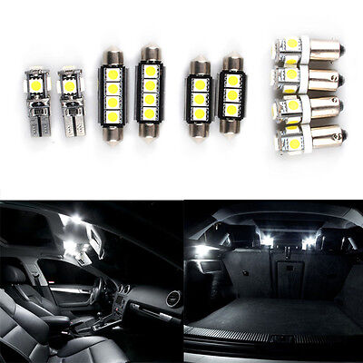 10pcs Audi A3 8P Hatchback Canbus Error Free Interior SMD Lights LED Bulbs White