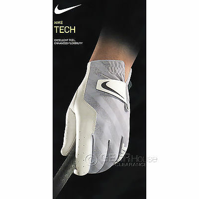 New Nike Golf Mens Tech Leather Glove Grey White, LEFT HAND, Pick Size