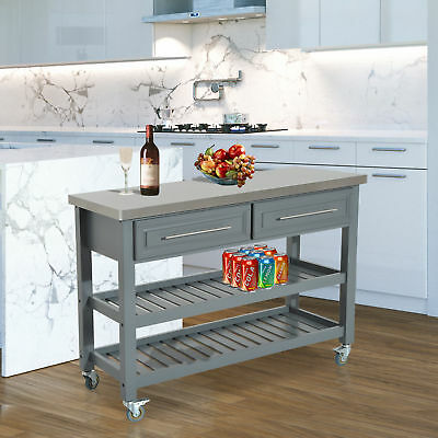 Pine Wood Mobile Kitchen Island Utility Cart W/ Stainless Steel Restaurant  Gray