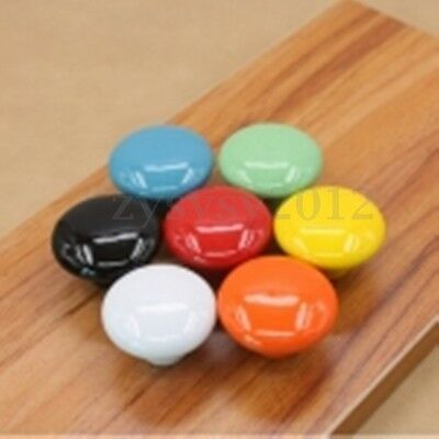1~10PCS Round Ceramic Door Knobs Cabinet Cupboard Drawer Furniture Pull Handle