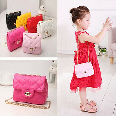 Girls Princess Casual Messenger Shoulder Bag Fashion Metal Chain Handbag Kids