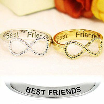 BFF Letter Best Friend Siver&Gold Punk Infinity 8 Bowknot Friendship Rings New