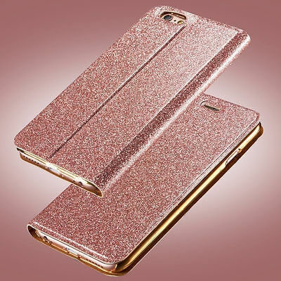 Luxury Glitter Leather Magnetic Flip Card Wallet Case Cover For iPhone Samsung