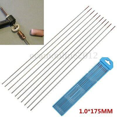 10PCS 1/25''x7'' TIG Welding Tungsten Electrodes Rod Thoriated WT20 Red 1X175MM