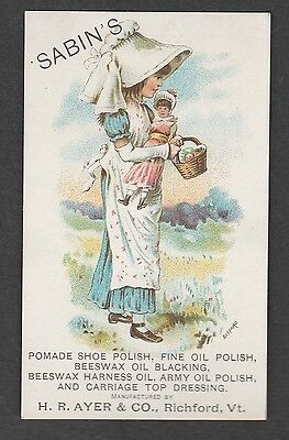 Victorian Trade Card Sabins Shoe Polish Ayer & Co. Richford Vt Girl With Doll