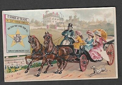 Victorian Trade Card Domestic Sewing Machine Co. New York Wagon Ride