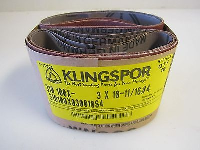 "LOT OF 10 KLINGSPOR 3"" X 10-11/16"" #4 -CS310 X042- Abrasive Sanding Cloth Belts"