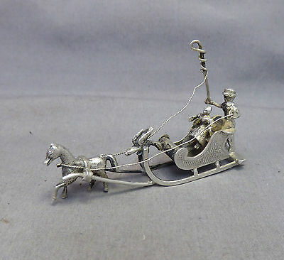 a Fine Dutch Silver Miniature Horse Drawn Sleigh - Antique 19TH / 20TH Century
