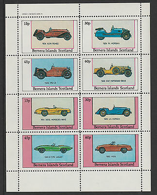 GB Locals - Bernera 3560 - 1982  SPORTS CARS perf sheetlet of 8 u/m