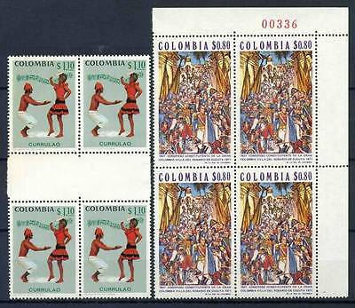 17-03-05572 - Colombia 1971 Mi.  1209, 1216 MNH 100% Block of four Folksongs Ros