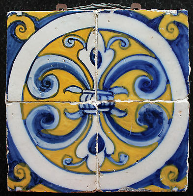 4 Portuguese Polychrome tiles from 17th century panel #1