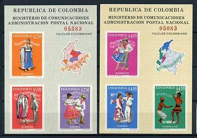 17-03-05712 - Colombia 1971 Mi.  Bl. 33-34 SS 100% MNH EXFICALI '71 costumes.