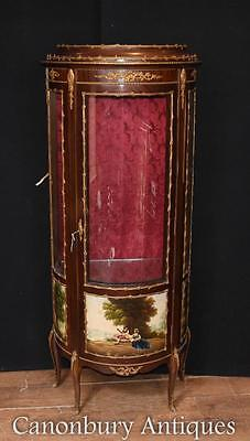 Antique French Kingwood Display Cabinet Bijouterie Vernis Martin Paintings