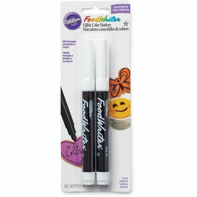 Wilton Black Food Writer Decorate Edible Color Ink Marker Fine & Bold Tip 2-Pack