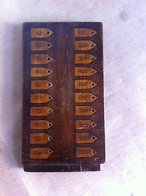 UNUSUAL DECORATIVE ANTIQUE WOODEN GAMES MARKER BOARD 5.7 by 3.2 inches
