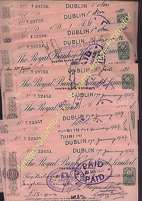 1924-28 DUBLIN Royal Bank of IRELAND 13 Cheques with IRISH 2d REVENUES