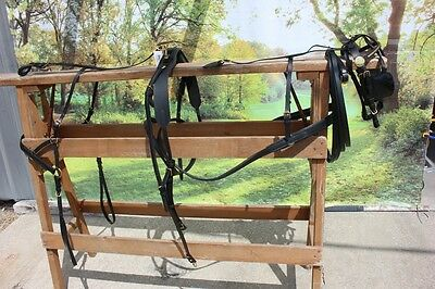 Brand new LEATHER mini horse size driving harness BLACK by Frontier Equestrian
