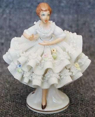 Sandizell West Germany Dresden White Porcelain Lace Adorned Lady Applied Flowers