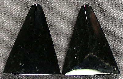 Two (2) Paired Gold Sheen Obsidian 17X14Mm Faceted Triangle Cabochon Set  (217)