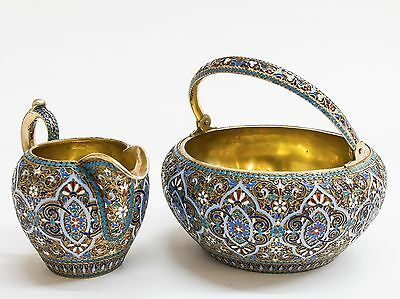 Russian Silver-Gilt And Cloisonné Enamel Set